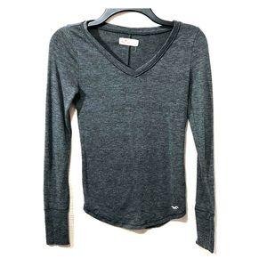 Hollister Long Sleeve Shirt - Charcoal Gray XS